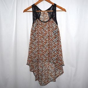 NEW FREE PEOPLE X-long hi low floral lace tunic XS